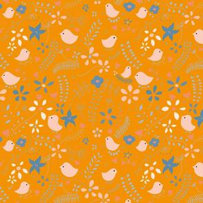 Birds meeting 4, orange, blue, pink, birds, flowers, nature, tree