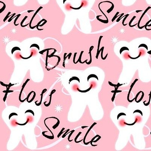 Brush Floss Smile - dental -Retro /Blush -Rose- Pink