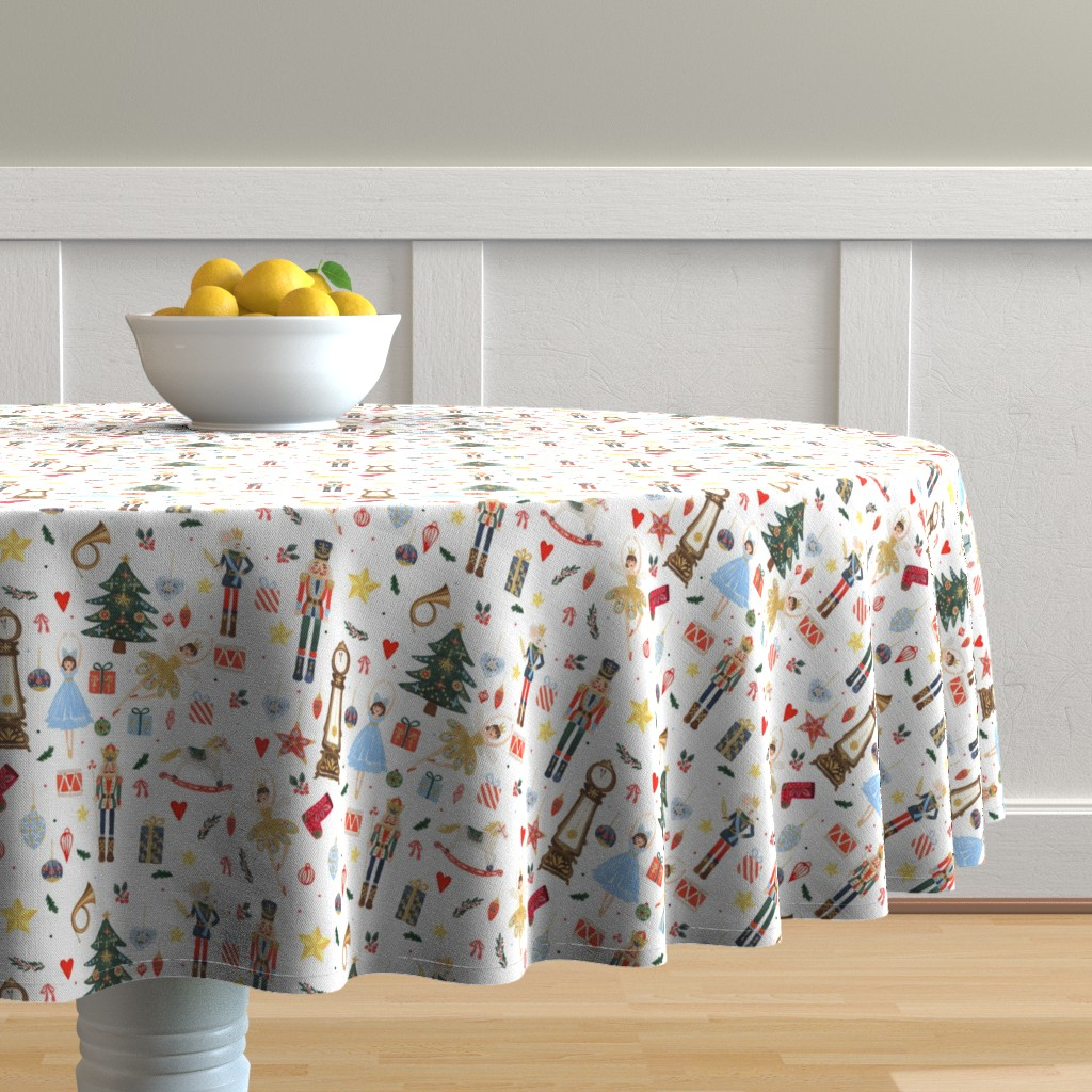 """Malay Round Tablecloth featuring 8"""" Winter Dreams Nutcracker / Toy Soldier 8 """" by shopcabin"""