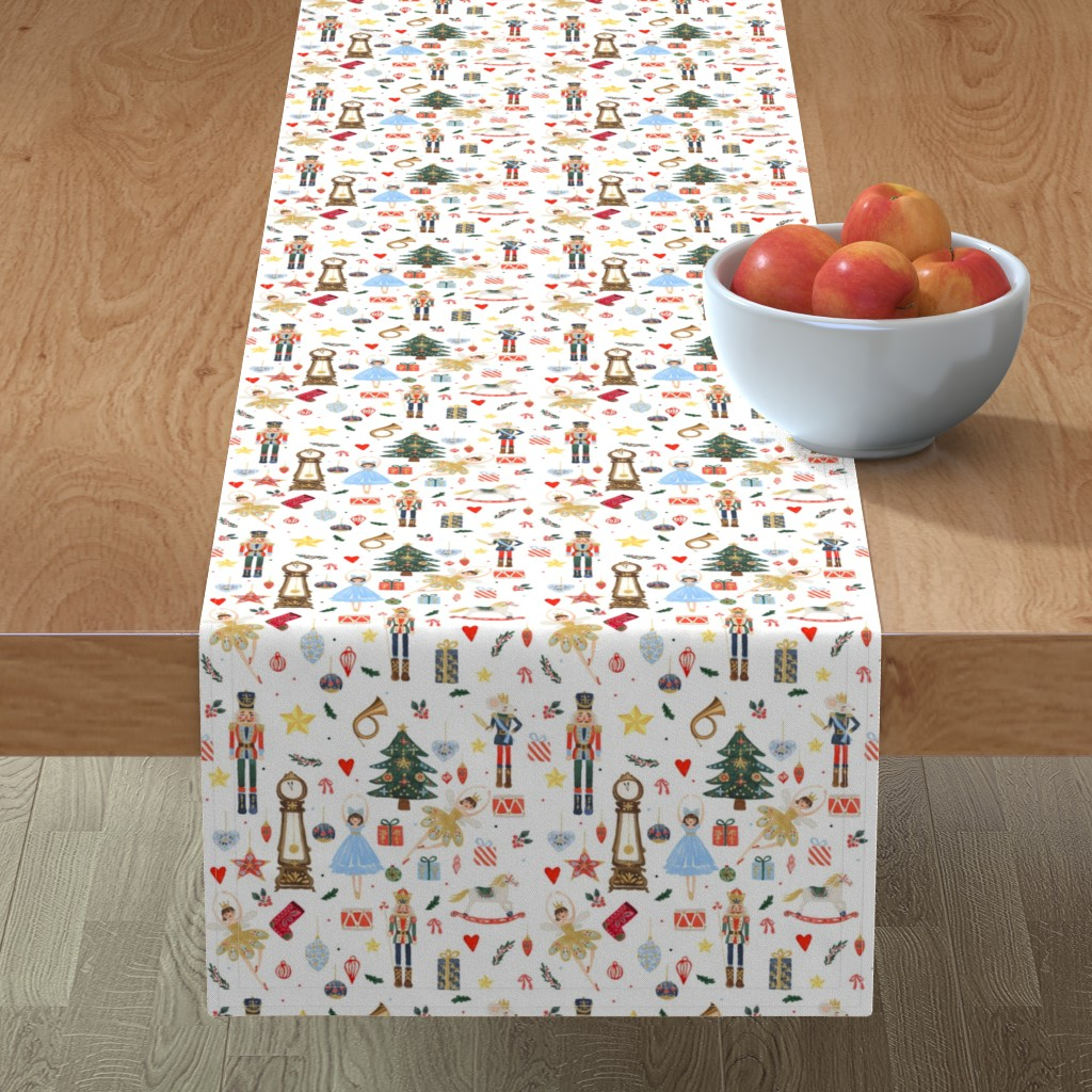 """Minorca Table Runner featuring 8"""" Winter Dreams Nutcracker / Toy Soldier 8 """" by shopcabin"""