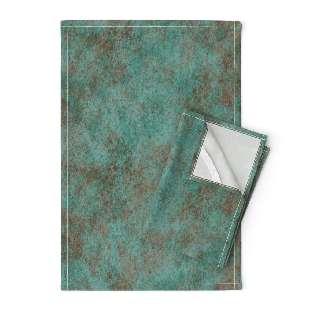 Orpington Tea Towels featuring Patina Bronze Teal 150 by kadyson