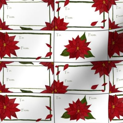 Poinsettia gift tags - Spoonflower
