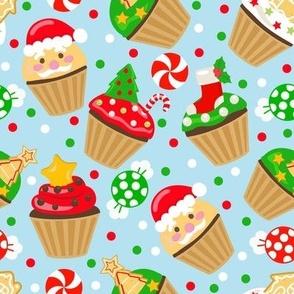 Christmas Cupcake Blue
