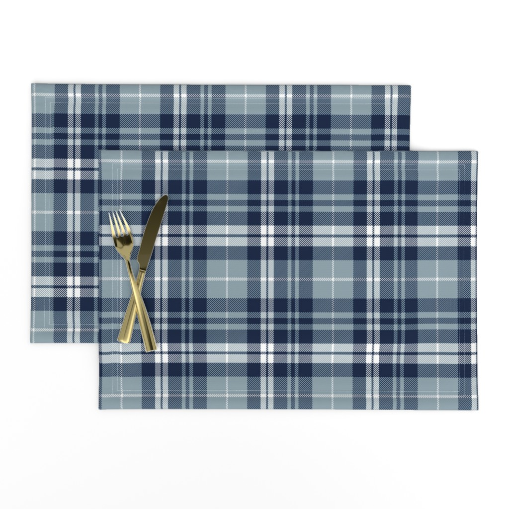 Lamona Cloth Placemats featuring fall plaid || navy, rustic woods blue, white by littlearrowdesign