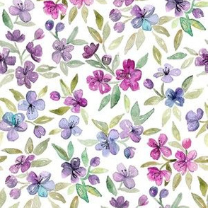 Purple, Plum and Magenta Watercolor Blossoms