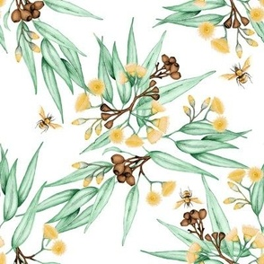 Gumnuts & Eucalyptus Yellow Blossoms & Bees