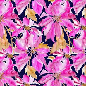 Poinsettia - Pink & Navy