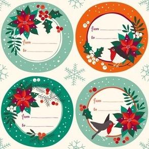 Poinsettia vintage christmas labels