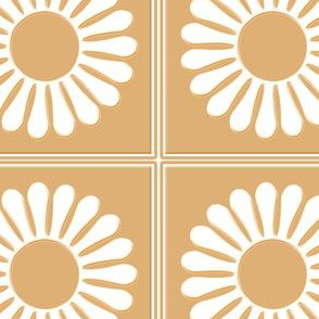 White Flower Beige Background