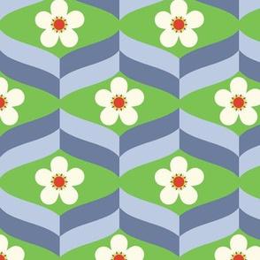 Flower Blues on Green