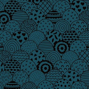 Abstract inky texture marmaid scales winter ocean waves and scallops blue