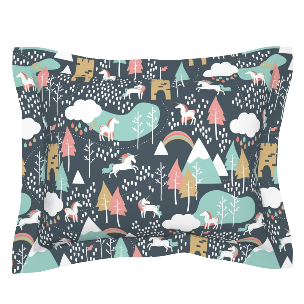Sebright Pillow Sham featuring Unicorn Love - Large by papercanoefabricshop