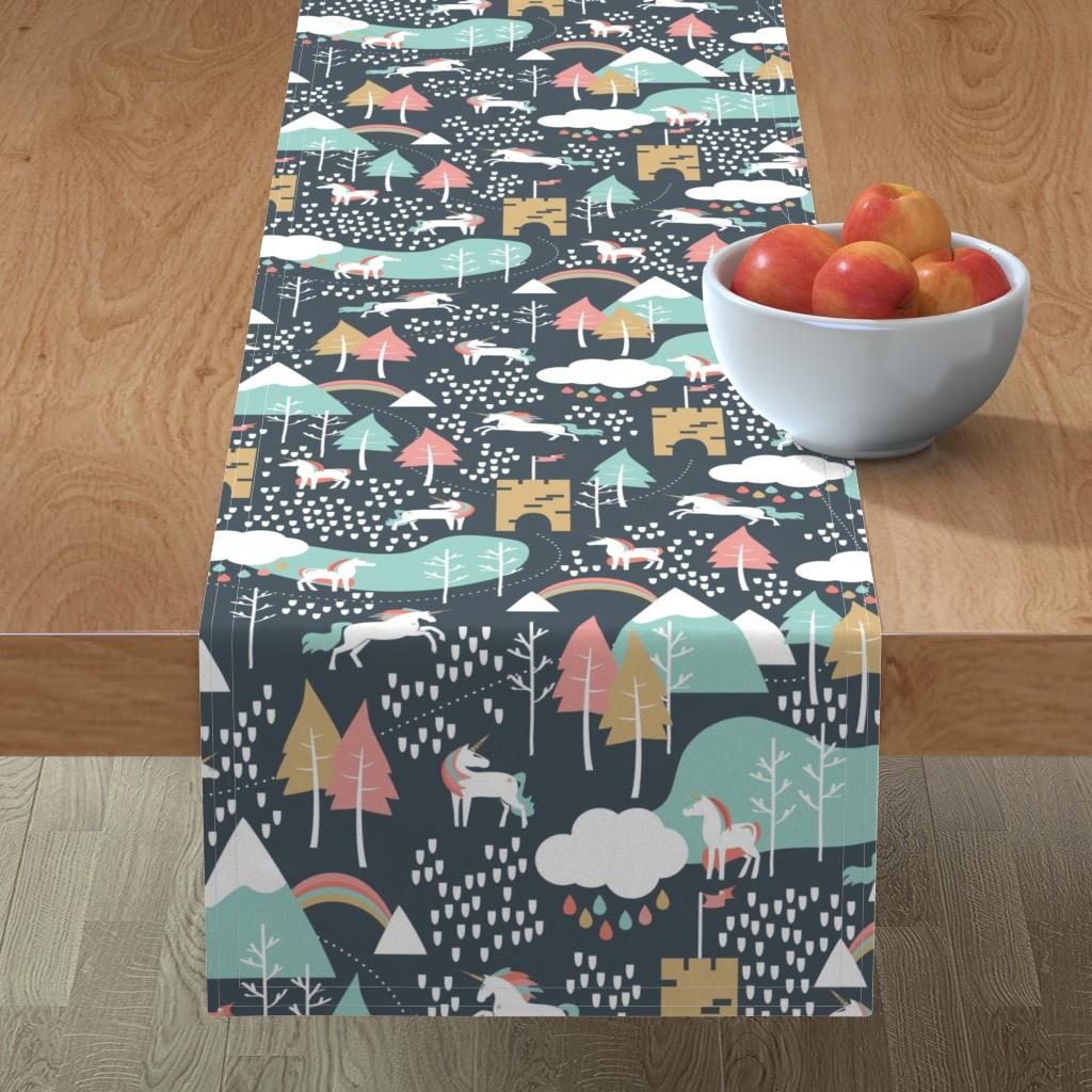 Minorca Table Runner featuring Unicorn Love - Large by papercanoefabricshop