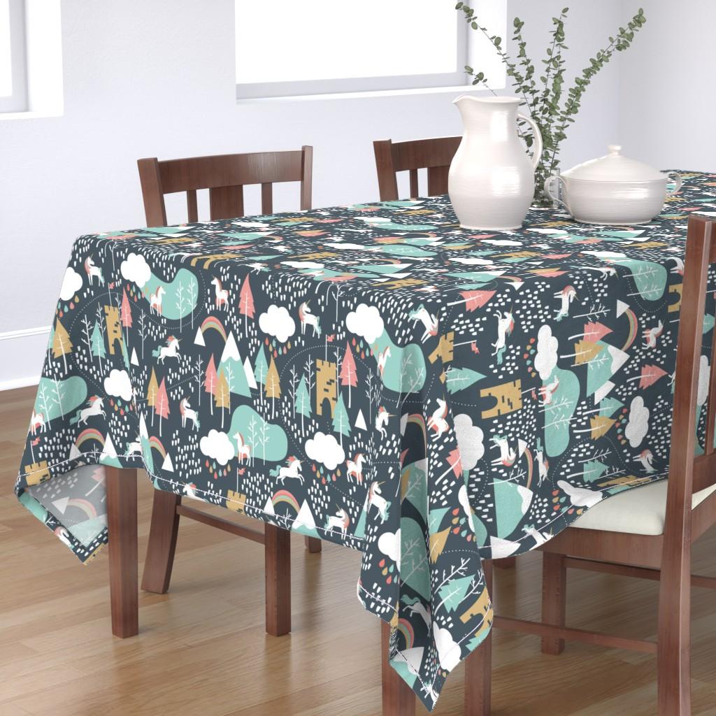 Bantam Rectangular Tablecloth featuring Unicorn Love - Large by papercanoefabricshop