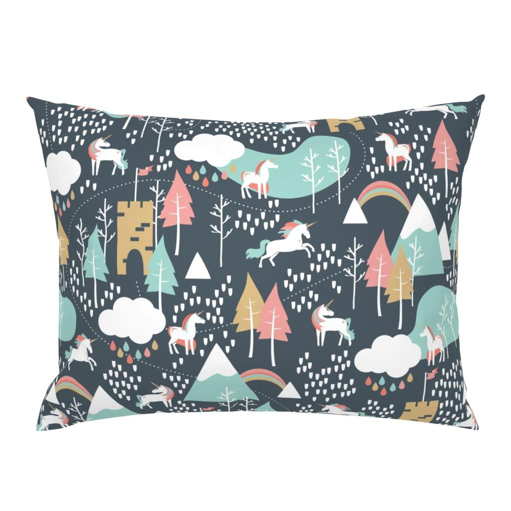 Campine Pillow Sham featuring Unicorn Love - Large by papercanoefabricshop