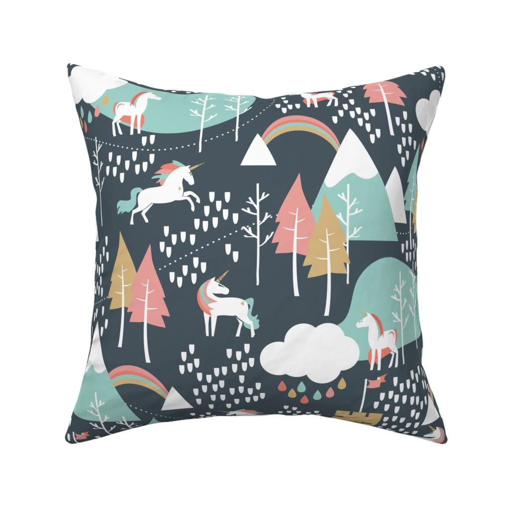 Catalan Throw Pillow featuring Unicorn Love - Large by papercanoefabricshop