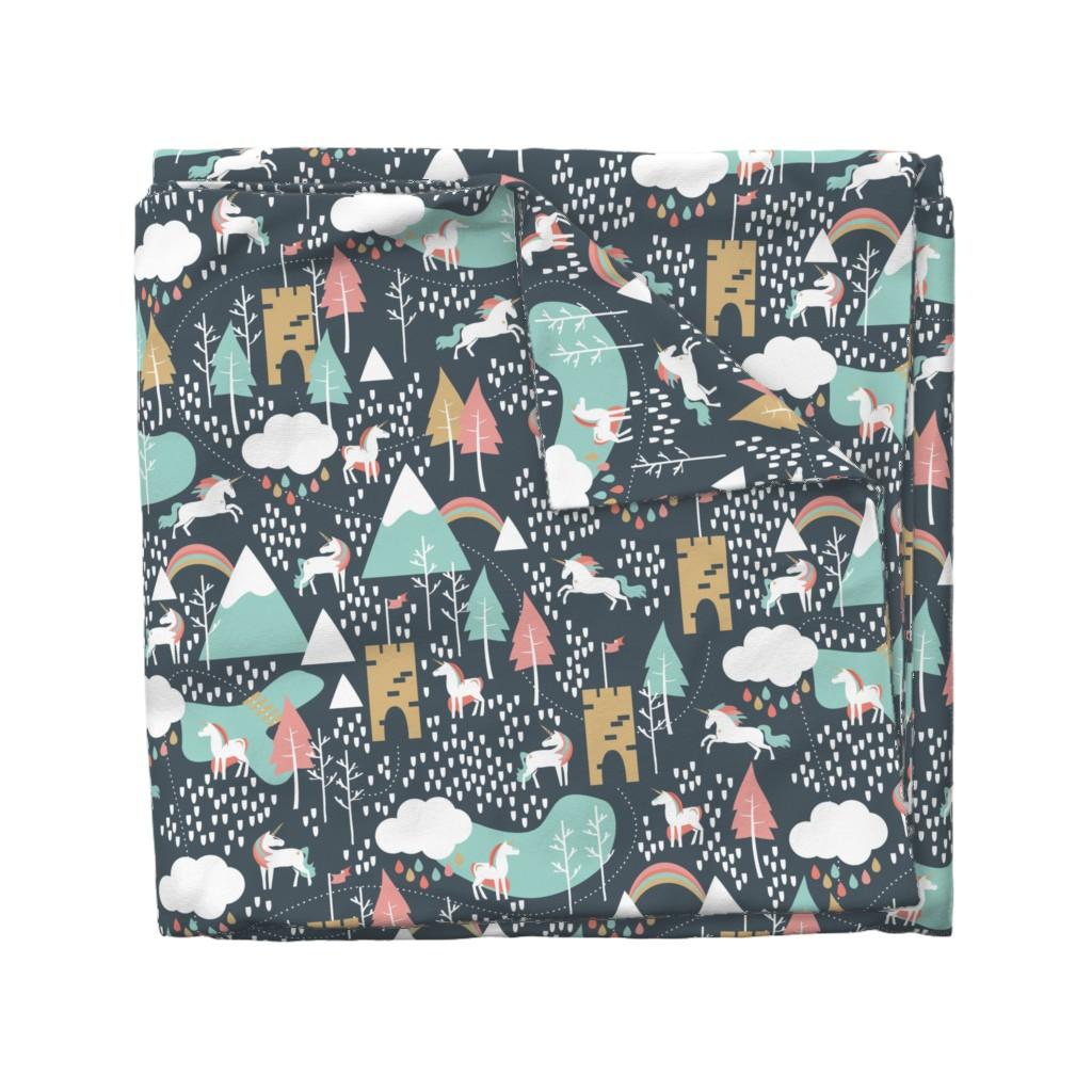 Wyandotte Duvet Cover featuring Unicorn Love - Large by papercanoefabricshop