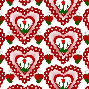 Valentines Hearts Red and White Roses and Hearts Fabric #5