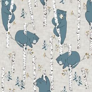Birch Bears (blue) SMALL
