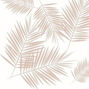 Palm leaf - blush on white tropical palm tree