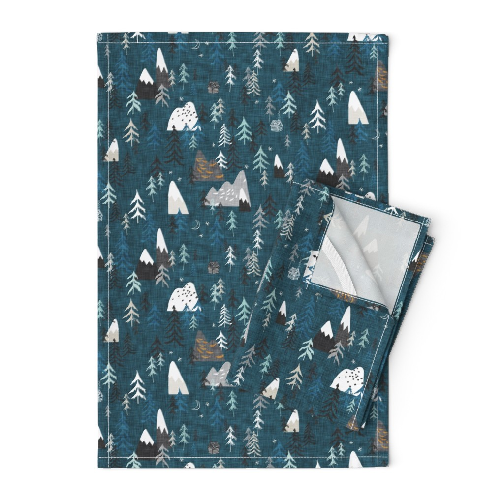 Orpington Tea Towels featuring Forest Peaks (midnight blue)  by nouveau_bohemian