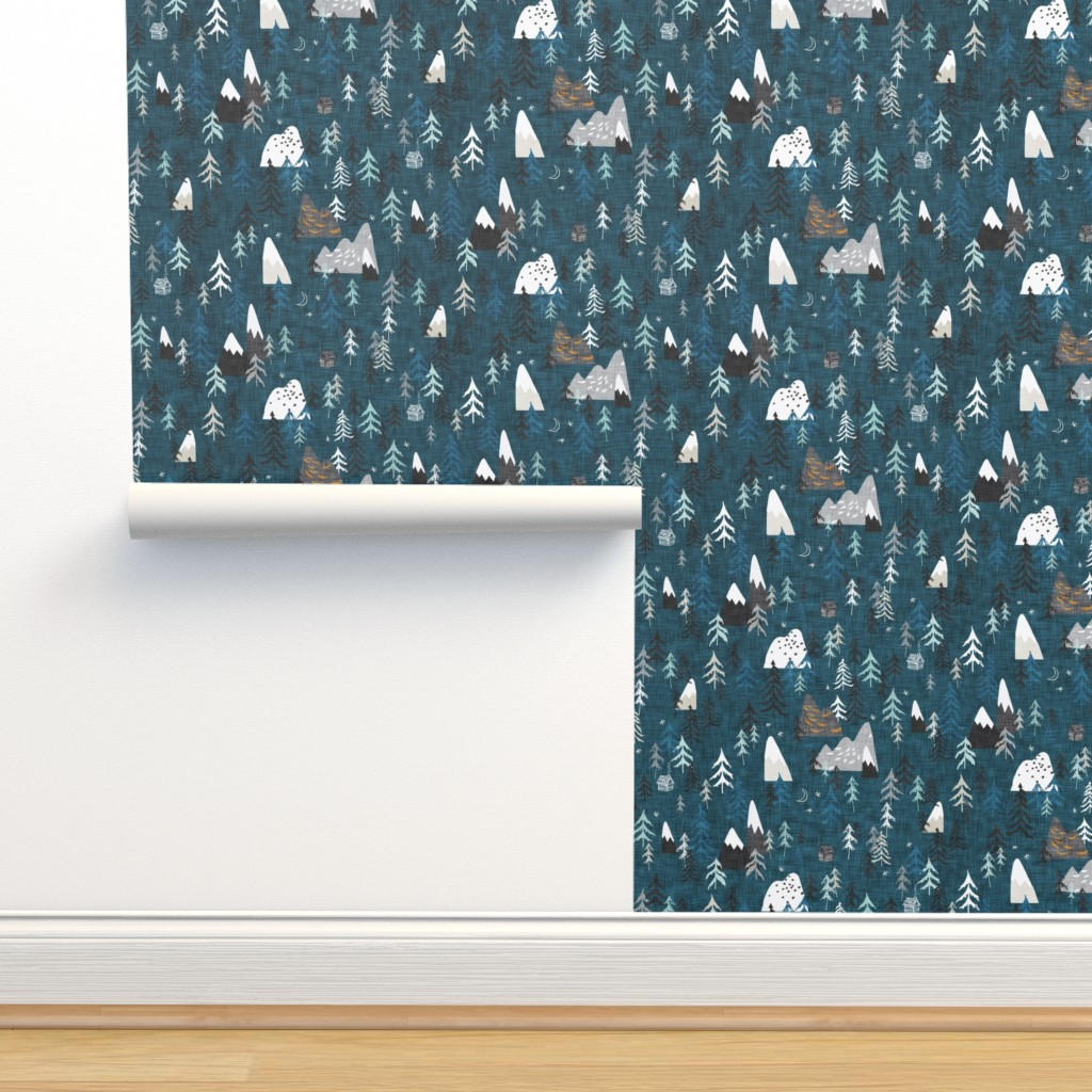 Isobar Durable Wallpaper featuring Forest Peaks (midnight blue)  by nouveau_bohemian