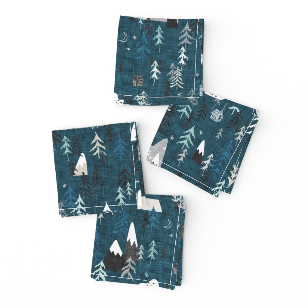 Frizzle Cocktail Napkins featuring Forest Peaks (midnight blue)  by nouveau_bohemian