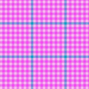 tartan check - heroic pink and cyan