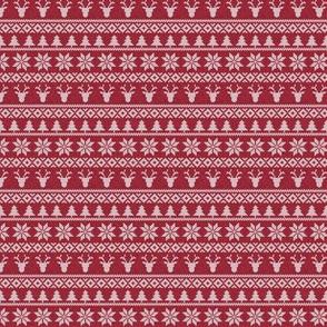 micro print - fair isle deer (red) || snowflake || winter knits
