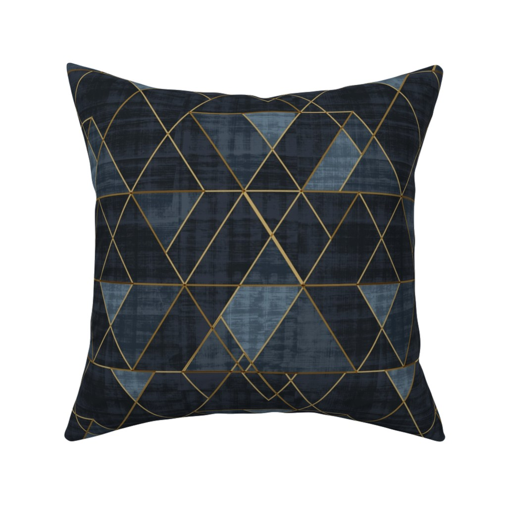 Catalan Throw Pillow featuring Mod Triangles Gold Indigo by crystal_walen
