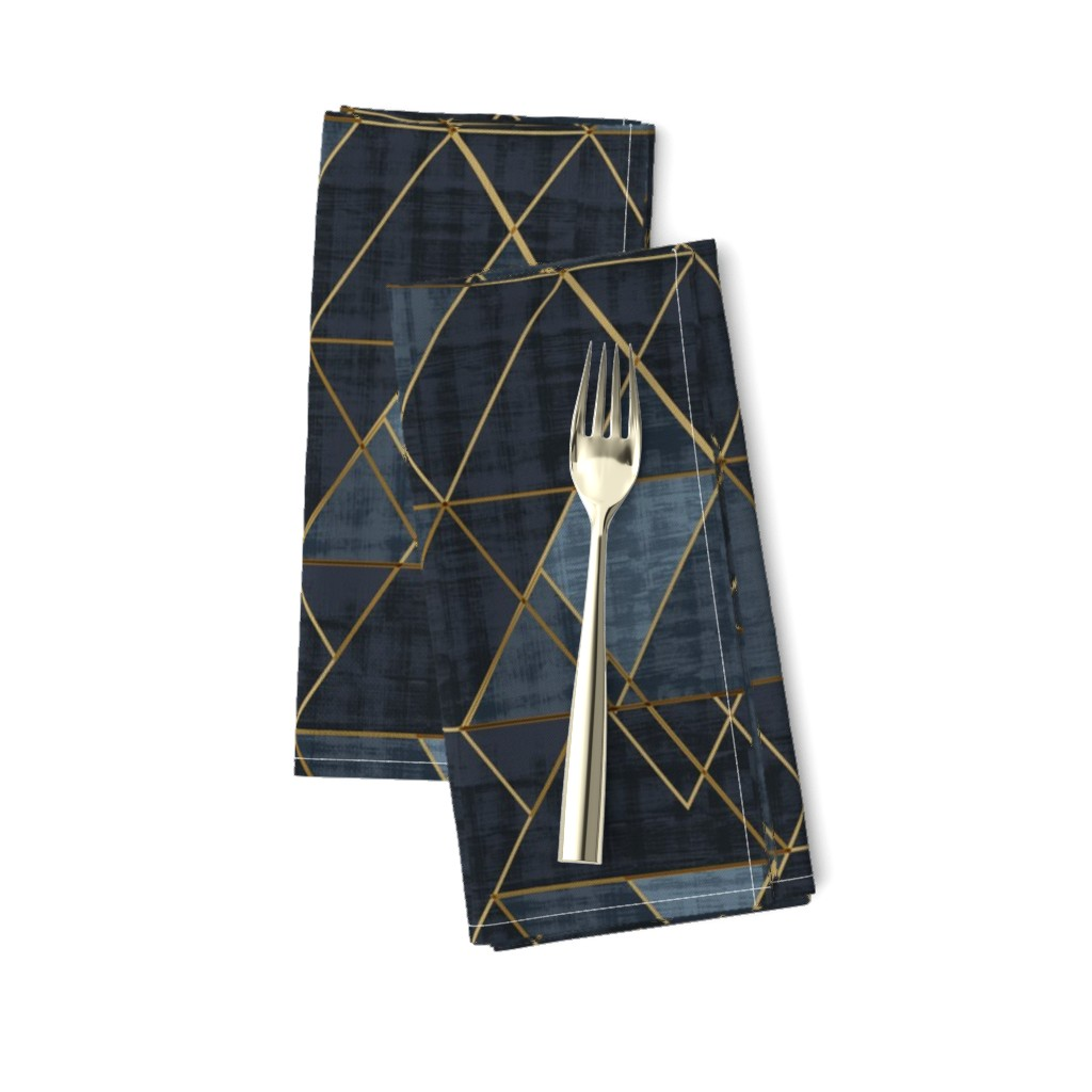 Amarela Dinner Napkins featuring Mod Triangles Gold Indigo by crystal_walen