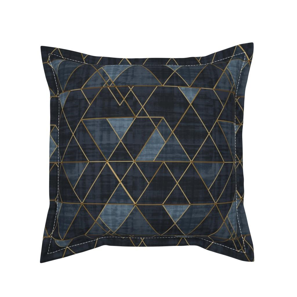 Serama Throw Pillow featuring Mod Triangles Gold Indigo by crystal_walen