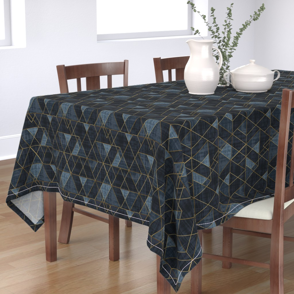 Bantam Rectangular Tablecloth featuring Mod Triangles Gold Indigo by crystal_walen