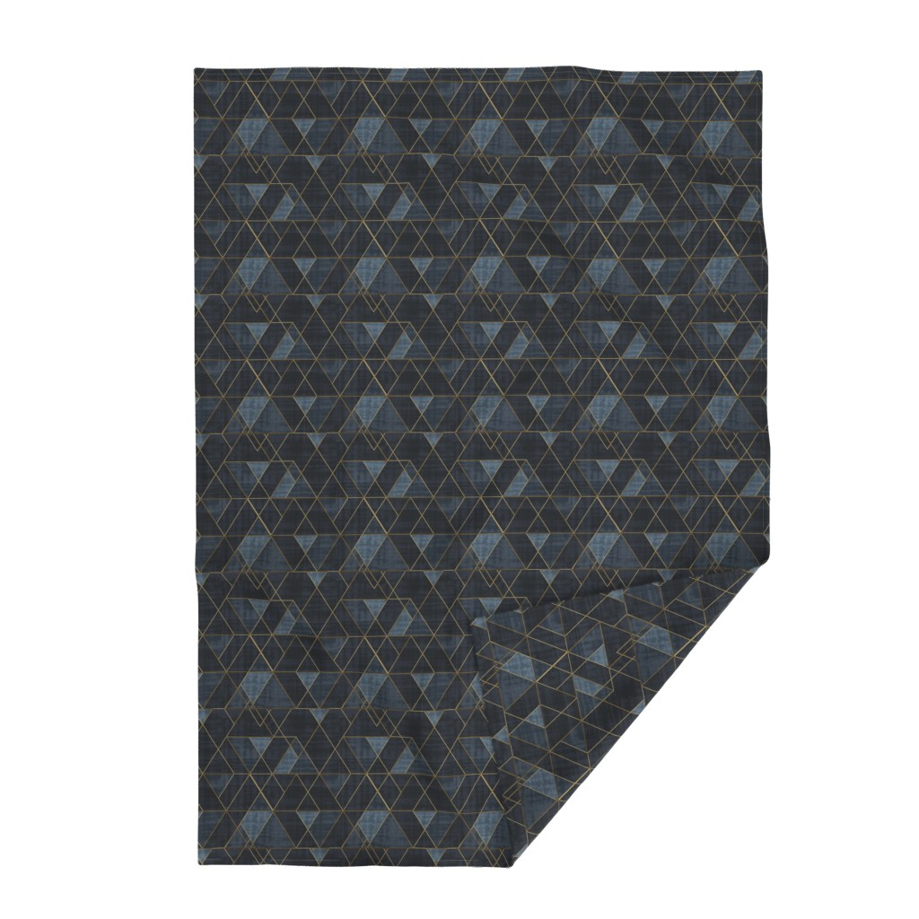 Lakenvelder Throw Blanket featuring Mod Triangles Gold Indigo by crystal_walen
