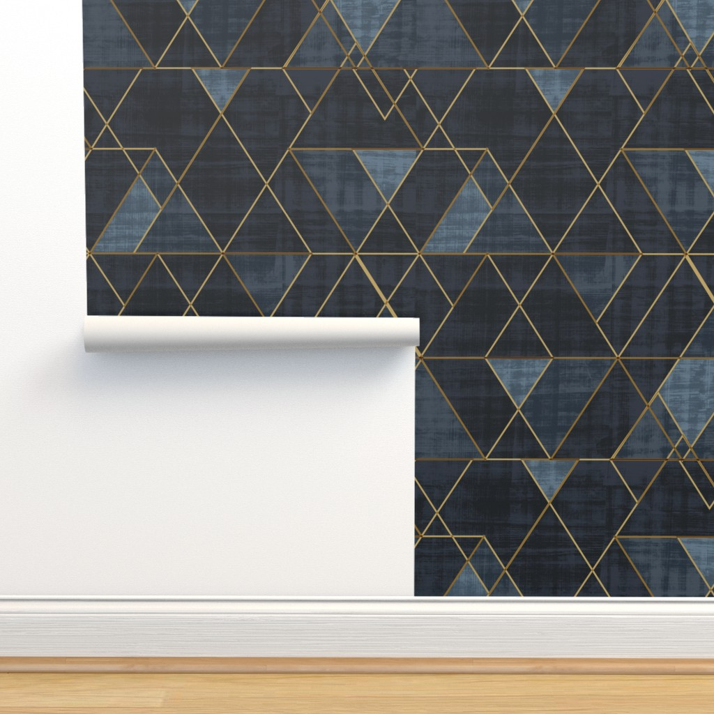 Isobar Durable Wallpaper featuring Mod Triangles Gold Indigo by crystal_walen