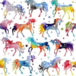 Rainbow Watercolour Galaxy Unicorns - white background