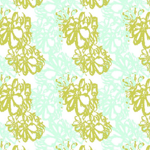 Geranium Abstract in Seafoam Green