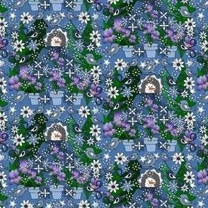 Sweetheart Faith Snowlady and Irises Winter Fabric