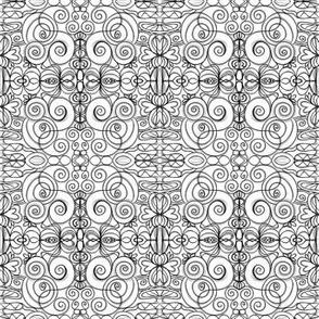 Black and White Line Art Filigree Doodles