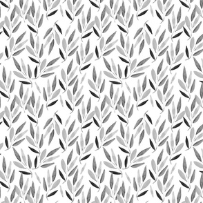 Bamboo leaves in black and white