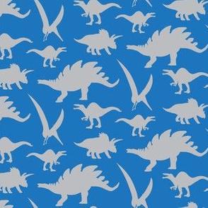 16-05W Gray grey Boy Dinosaur Silhouette on Royal Blue _ Miss Chiff Desingns