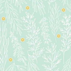 Christmas Boughs in Mint // Gift wrap or Fun Christmas fabric // Doodle style repeating pattern by Zoe Charlotte
