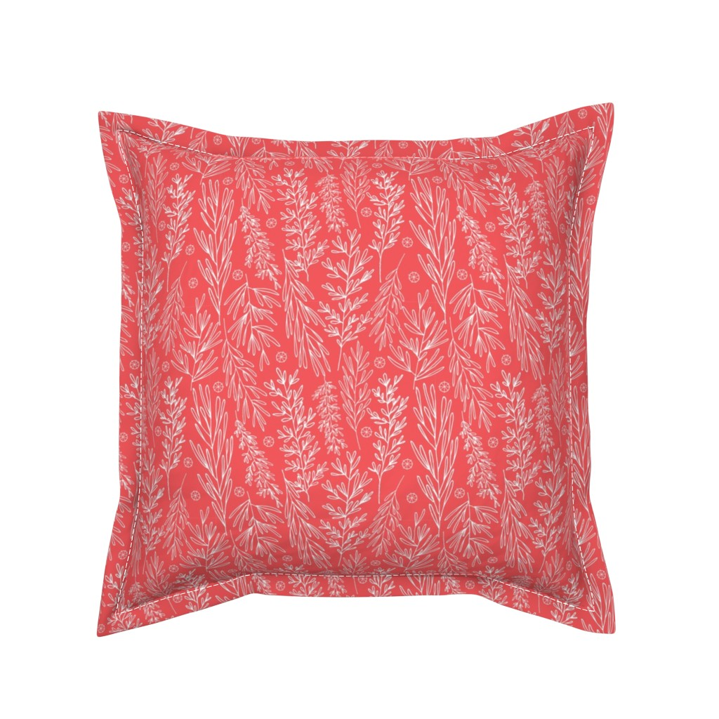 Serama Throw Pillow featuring Christmas Boughs in Red// Gift wrap or Fun Christmas fabric // Doodle style repeating pattern by Zoe Charlotte by zoecharlotte