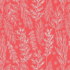 Christmas Boughs in Red// Gift wrap or Fun Christmas fabric // Doodle style repeating pattern by Zoe Charlotte