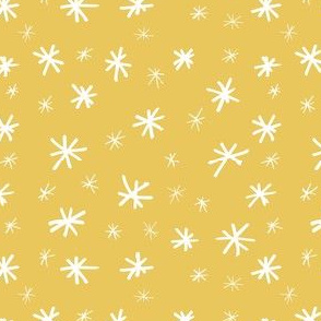 Stars in Gold // Gift wrap or Fun Christmas fabric // Doodle style repeating pattern by Zoe Charlotte