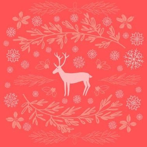 Reindeer and Christmas Foliage // Giftwrap // Snowflakes, Holly, Evergreen Winter foliage // Modern Christmas design by Zoe Charlotte