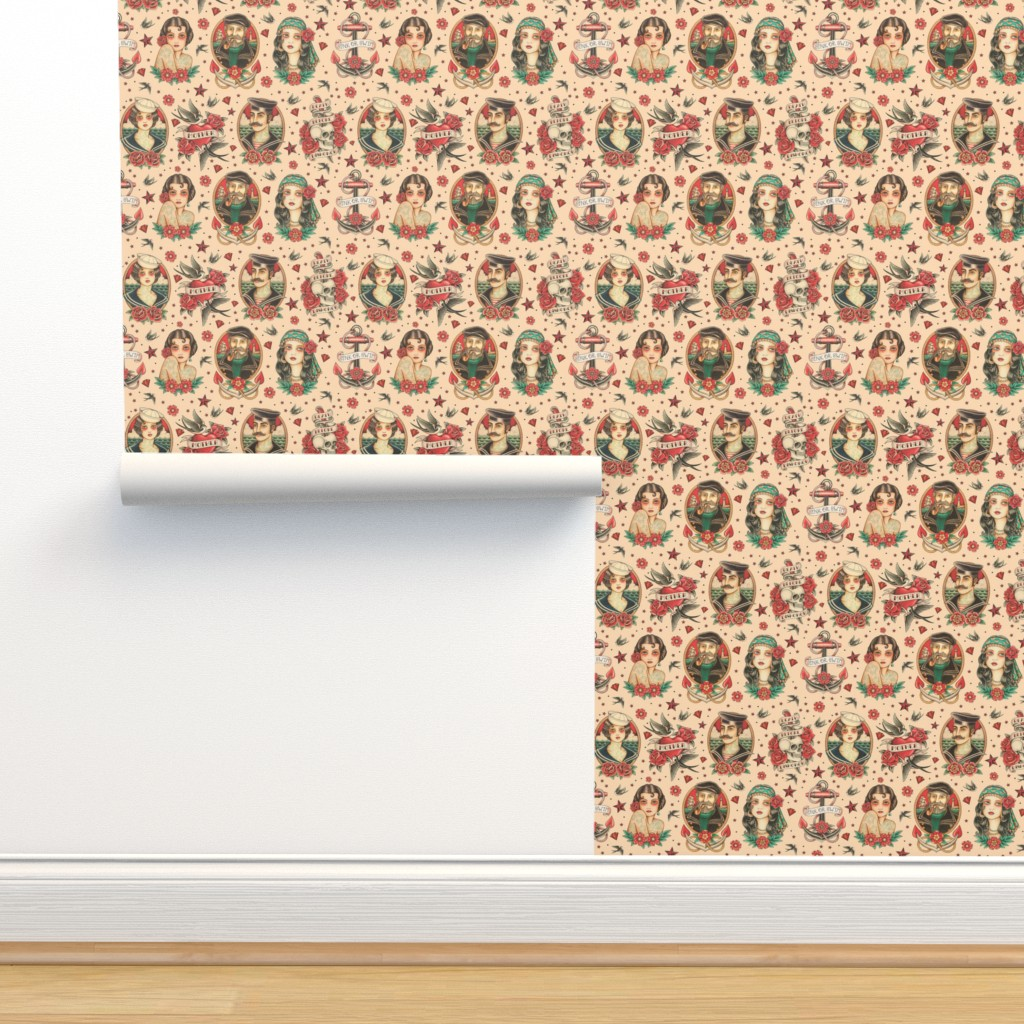 Isobar Durable Wallpaper featuring OLD SCHOOL TATOO by crixtina
