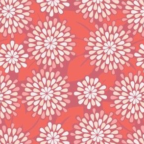 Teardrop Flowers in Crimson // Repeating pattern for Wallpaper or Fabric // Teen Girl print by Zoe Charlotte