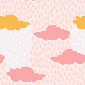 April Showers in Pink Sky // Repeating pattern for Wallpaper or Children's fabrics // Nursery print by Zoe Charlotte