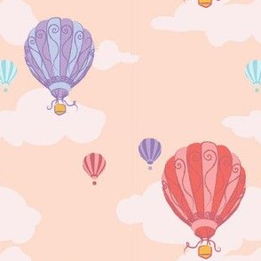 Colourful Balloons in Coral Pink // Repeating pattern for Wallpaper or Children's fabrics // Nursery print by Zoe Charlotte